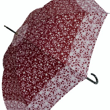 Vintage red umbrella with flowers