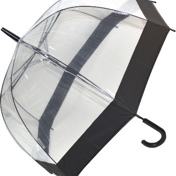 Stick style clear umbrella with black band