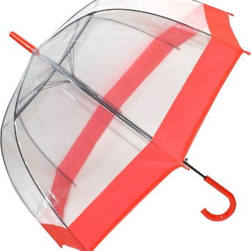 Stick clear dome umbrella with red band