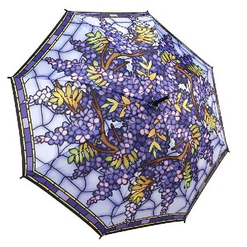 HANGING WISTERIA WALKING STICK STYLE UMBRELLA