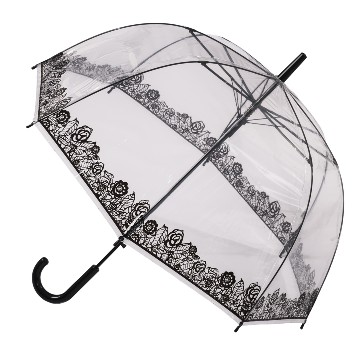 CLEAR DOME STICK UMBRELLA WITH BLACK LACE EFFECT