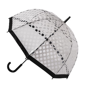 CLEAR DOME STICK UMBRELLA WITH WHITE POLKA DOTS