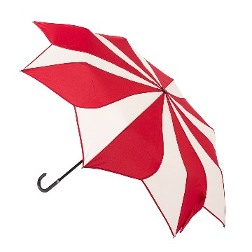 Red and cream swirl folding umbrella