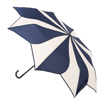 Blue and cream swirl folding umbrella