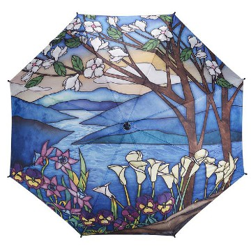 Stainled glass landscape stick umbrella