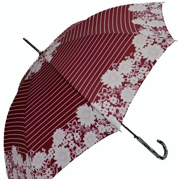 Floral vintage umbrella with lines, red-white