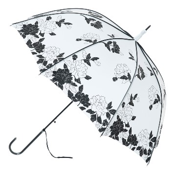 BOUTIQUE VINTAGE PRINT WHITE AND BLACK LEAVES STICK UMBRELLA