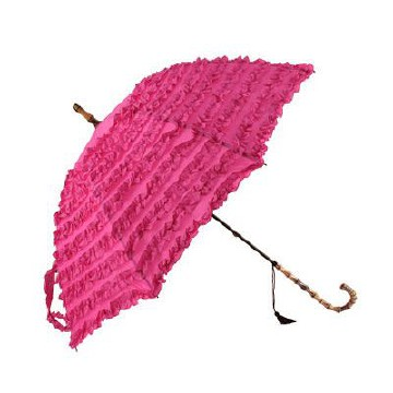 PINK COLOURED FIFI FRILLY WALKING STICK STYLE UMBRELLA