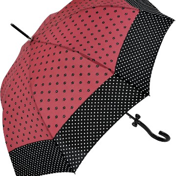 Walking length umbrella , Cats and Dots, red