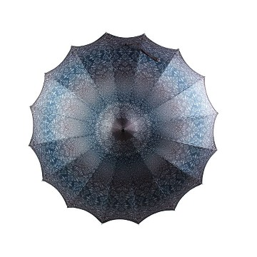 BOUTIQUE PATTERNED PAGODA UMBRELLA WITH SCALLOPED EDGE CHARCOAL