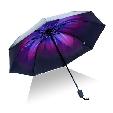 Folding umbrella purple flower