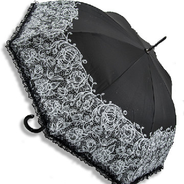 Lace vintage umbrella, black
