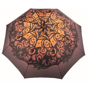 Automatic extra folding umbrella, brown