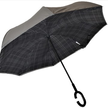 Inside out umbrella silver, checked