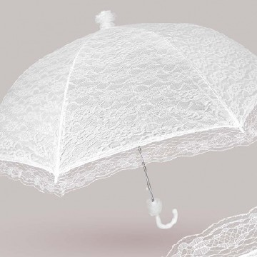 Wedding umbrella with lace , white
