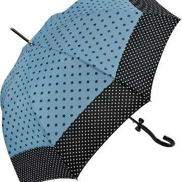Walking length umbrella , Cats and Dots, blue