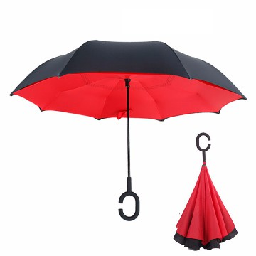 Reversible twin layer umbrella, red
