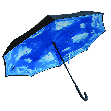 Reverse folding umbrella, blue sky