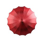 BOUTIQUE PATTERNED PAGODA UMBRELLA WITH SCALLOPED EDGE RED