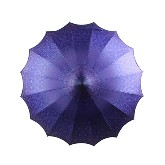 BOUTIQUE PATTERNED PAGODA UMBRELLA WITH SCALLOPED EDGE PURPLE