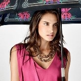Exclusive lady stick umbrella, red flowers